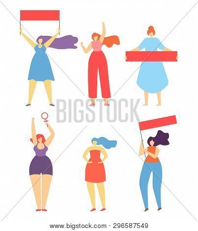 Feminism Women Liberation Concept Flat Cartoon Banner Women Protesting Striking Struggling For Right