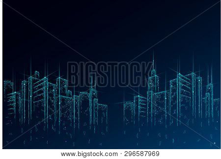 Low Poly Smart City 3d Wire Mesh. Intelligent Building Automation System Business Concept. High Skys
