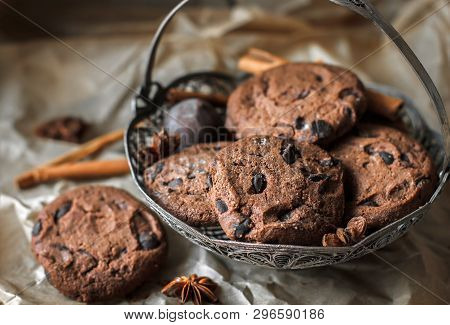 Chocolate Chip Cookies With Chocolate. Chocolate Chip Cookies. Dark Food Photography. - Image.