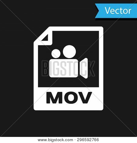 White Mov File Document Icon. Download Mov Button Icon Isolated On Black Background. Mov File Symbol