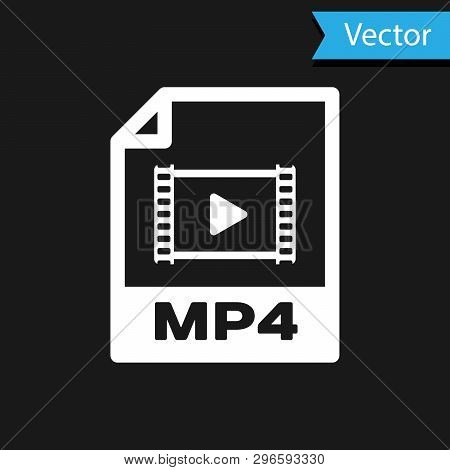 White Mp4 File Document Icon. Download Mp4 Button Icon Isolated On Black Background. Mp4 File Symbol