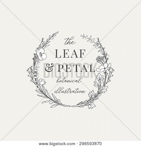 Botanical Wreath Illustration Premade Logo - Botanical Wreath Design With Hand Drawn Illustrations.