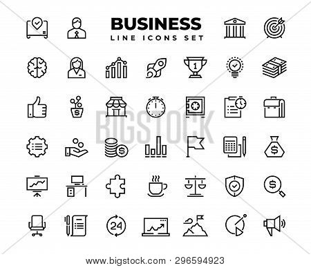 Business Line Icons. Finance Target Service Support Career Award Presentation Idea Strategy Solution