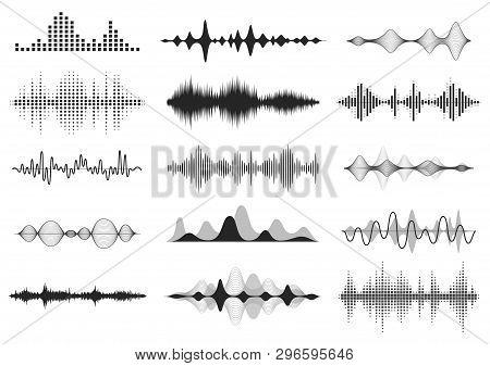 Black Sound Waves. Music Audio Frequency, Voice Line Waveform, Electronic Radio Signal, Volume Level