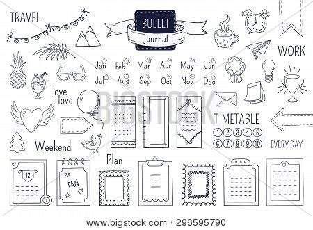 Journal Hand Drawn Elements. Notebook Doodle Bullets, Schedule Calendar Diary Sketch Line Elements.