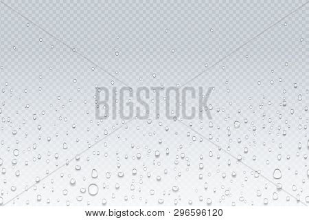 Water Drops On Glass. Rain Droplets On Transparent Window, Steam Condensation Pattern, Shower Glass.