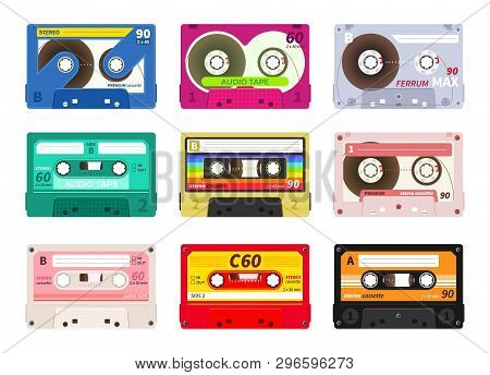 Vintage Music Cassettes. Retro Dj Sound Tape, 1980s Rave Party Stereo Mix, Old School Record Technol