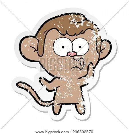 distressed sticker of a cartoon hooting monkey poster