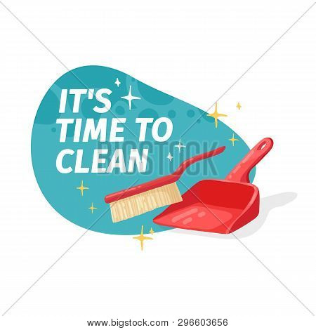 Template Banner With For House Cleaning. Layout For Cleaning Service With Household Good.  Dustbag W