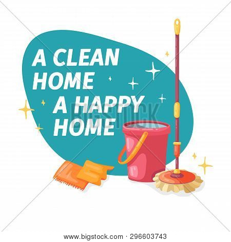 Template Banner With Mop And Bucket  For House Cleaning. Layout For Cleaning Service With Cleaning P