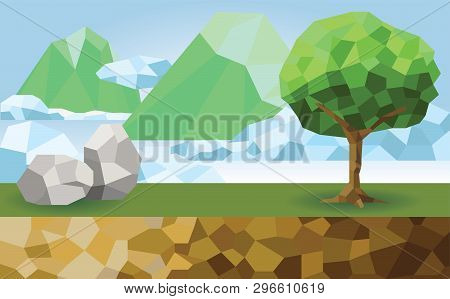 Polygon Design : The Viewpoint On The Top Of The Mountain With Stone And Tree And Cutting Ground. Th