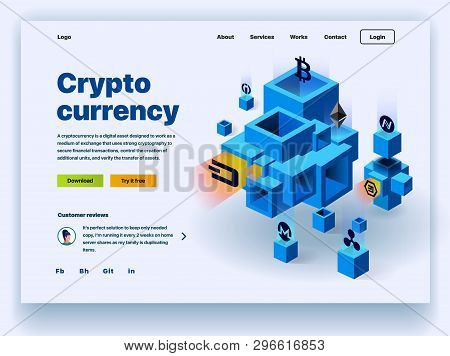 Crypto Currency Website. Cryptocurrency And Digital Money Technology Concept Vector Website. Website