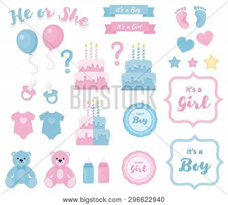 Gender reveal clipart with banners and frames.Blue and pink colors poster