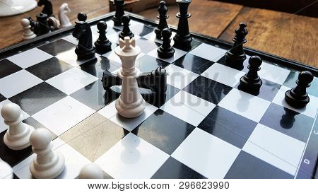 Strategy Chess Battle Intelligence Game On Chessboard. Success The Chess Strategy Concept. Chess Bus