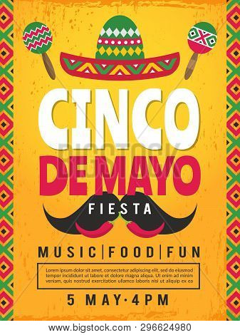 Poster Of Mexican Fiesta. Design Template Of Party Invitation. Vector Mexican Fiesta, Cinco De Mayo