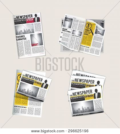 Newspapers Icons. Journalist Collection Of Reading Daily News With Headlines Tabloid Vector Symbols