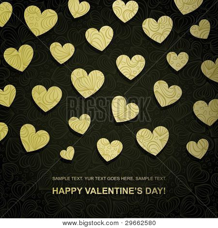 Valentine card made of golden paper heart, vector eps8 illustration