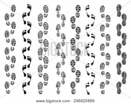 Footprints Shapes. Movement Direction Of Human Shoes Boots Walking Footprints Vector Silhouettes. Fo