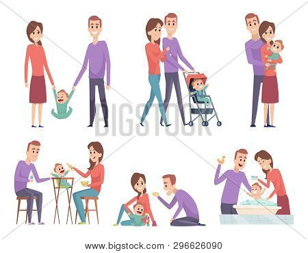 Family Couples. Love Mother And Father Playing With Their Little Kids Happy Mom Dad Parents Vector I