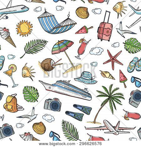 Vector Hand Drawn Summer Travel Elements Background Or Pattern Illustration. Summer Pattern Seamless