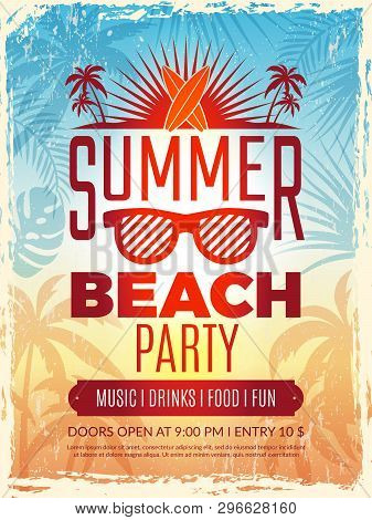 Summer Retro Poster. Vacation Tropical Beach Summer Party Invitation Retro Placard Vector Template.