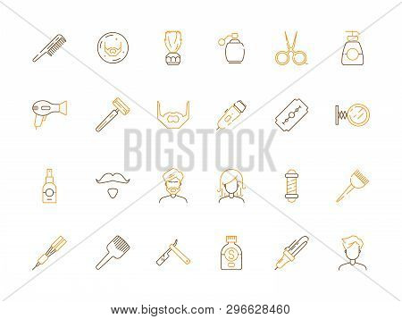 Beauty Salon Icon. Haircut And Barber Shop Accessories Scissors Comb Trimming And Shaving Vector Col