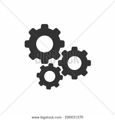 Gear Vector Icon In Flat Style. Cog Wheel Illustration On White Background. Gearwheel Cogwheel Busin