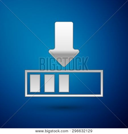 Silver Loading Icon Isolated On Blue Background. Download In Progress. Progress Bar Icon. Vector Ill