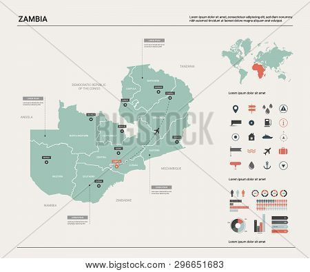 Vector Map Of Zambia.  High Detailed Country Map With Division, Cities And Capital Lusaka. Political