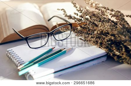 Cute Sentimental Still Life With Flowers Of Wormwood, Which In Bouquet Neatly Lie Alongside Books, G