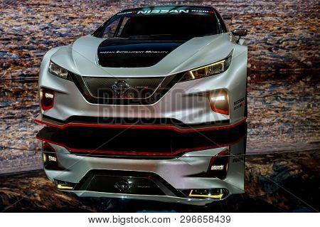 New York, Ny Usa - April 20, 2019: 2020 Nissan Gt-r Nismo Sport Car On Display At New York Internati