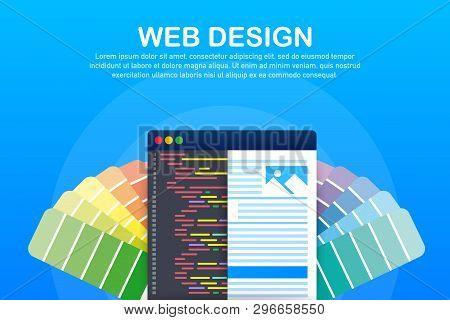 Web Design Illustration. Concept Of Creating Websites, Designed Banners For Ui, Ux Design And Web De