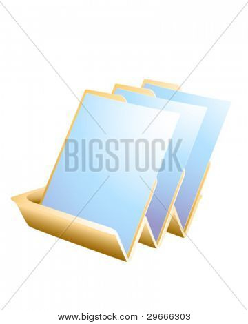 Vector artwork of filing tray with three sheets.