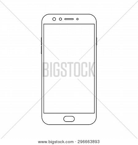 Outline Front View Smartphone With Power And Menu Buttons, Camera And Empty Screen On White Backgrou