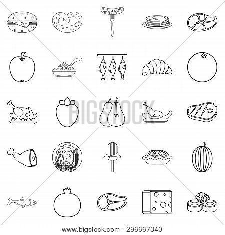Gastronomic Hobby Icons Set. Outline Set Of 25 Gastronomic Hobby Icons For Web Isolated On White Bac