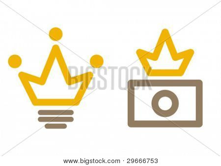 Stock illustrator avatar: light bulb + crown. Stock photographer: camera + crown.