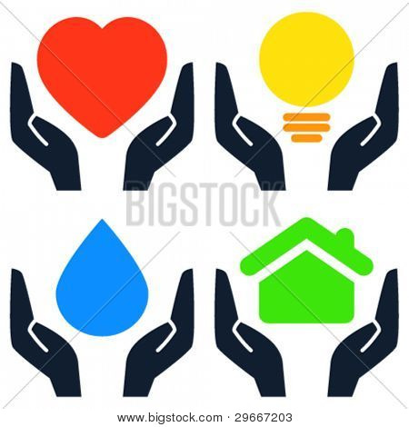 Hands holding heart, light bulb, water drop and house