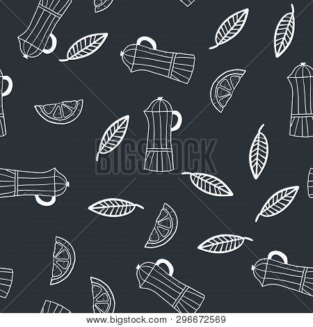 Hand Drawn Seamless Pattern With Lemon Slices, Leaves And Coffee Makers. Vector Illustration.