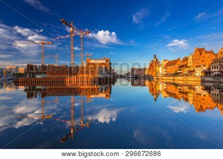Gdansk, Poland - May 5, 2018: Olowianka island with building construction in Gdansk at sunrise, Poland.