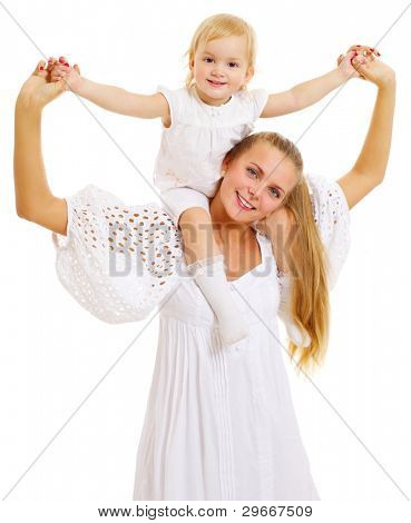 Beautiful happy young mother holding her daughter sitting on her shoulders isolated on white background. Mask included