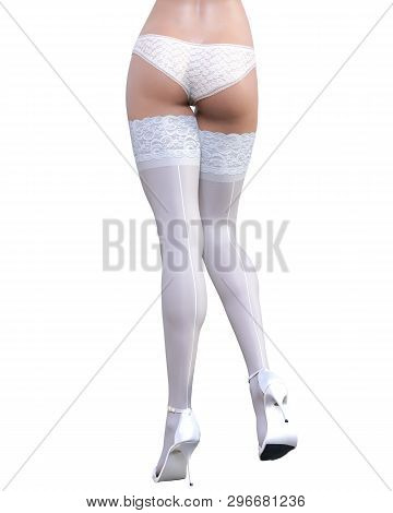 3d Beautiful Sexy Female Legs White Lingerie And Stockings.woman Studio Photography.high Heel.concep