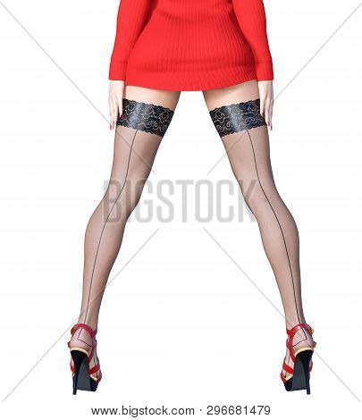 Beautiful Long Slender Sexy Female Legs Short Red Skirt Stockings.outerwear Spring Autumn Clothing.p