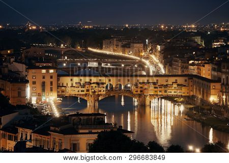 Florence skyline viewed from Piazzale Michelangelo at night with Ponte Vecchio