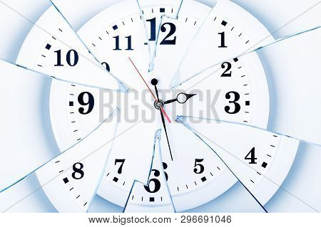 Clock With Broken Glass On A White Background. Chaos Time. Time Passing Concept. Frustration Time, P