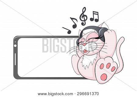 Cat In Headphones Listening To Favorite Music Pet Meloman Funny Vector