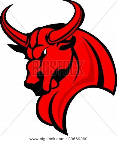 Bull Mascot Head Profile with Horns Graphic Vector Image poster