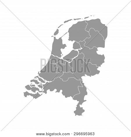 Vector Isolated Simplified Illustration Icon With Grey Silhouette Of Netherlands (holland) Provinces