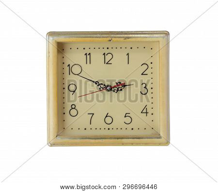 Picture Of Squre Retro Clock With Numbers Isolated On White Background