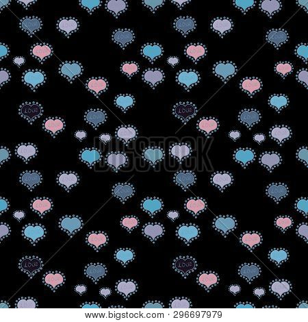 Seamless All You Need Is Love Quote With Hearts. Textile Graphic T Shirt Print On Neutral, Blue And