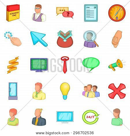 Business Cooperation Icons Set. Cartoon Set Of 25 Business Cooperation Icons For Web Isolated On Whi